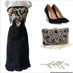 Laundry Strapless Embroidered Dress